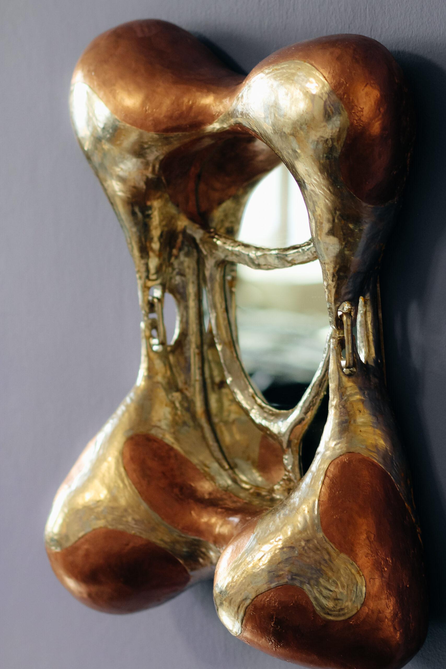 'La duree', gilt wood and sculptural wall mirror by Jacob Hoo