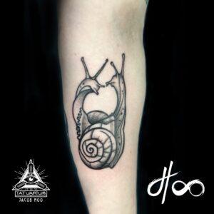 Jacob Hoo Snail Tattoo